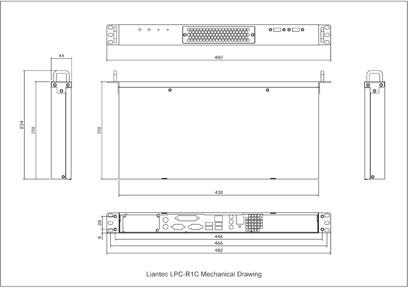 Liantec R1C Industrial 1U 19-inch Rackmount Mini-ITX Chassis Mechanical Drawing