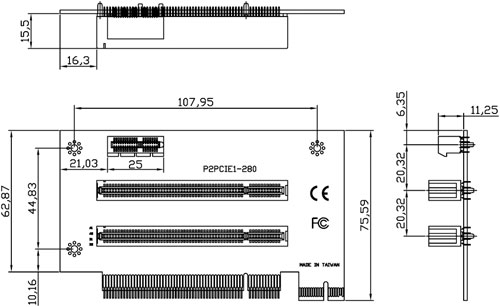 Liantec P2PCIE-280 Riser Card - 2U 3-Slot PCIe/PCI Extension with 1 x1 PCIe and 2 PCI Slots