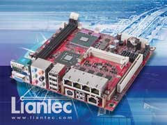 Liantec TBM-1441 Tiny-Bus PCIe Quad Gbit Ethernet Module on Mini-ITX EmBoard