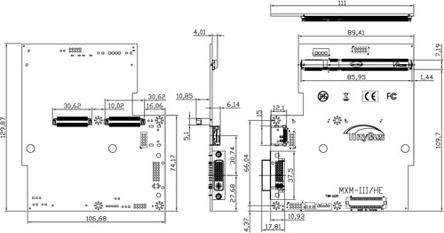 Liantec TBM-1620 Tiny-Bus x16 PCIe MXM-I/II/III/HE Extension Module Mechanical Drawing